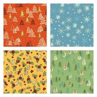 Colorful Christmas doodle pattern set