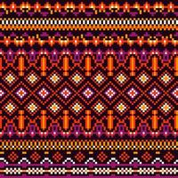 Bright Geometry Tribal Ethnic Pixel Pattern vector