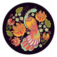 Folk Bird in the Garden on Black Circle Frame vector