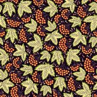 Seamless ornamental pattern in folk style with leaves vector