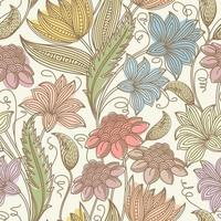 Vintage seamless colorful floral outline pattern vector