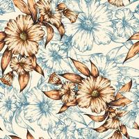 Orange and blue hand drawn floral pattern