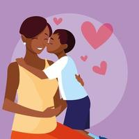 Mother with cute son avatar character vector