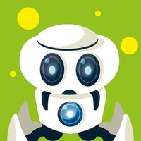 Technology robot cartoon over green background vector