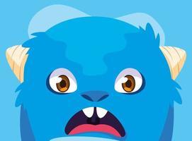 icono de diseño de dibujos animados de monstruo azul vector
