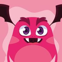Pink monster cartoon design icon