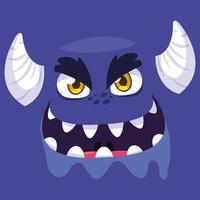 icono de diseño de dibujos animados de monstruo púrpura vector