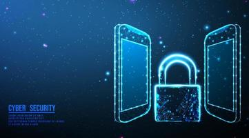 Smartphone and padlock security design  vector