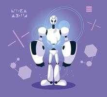 Technology robot over purple background vector