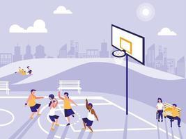 gente practicando deporte en el campo de baloncesto vector
