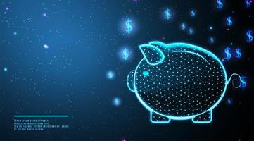Abstract low poly piggy bank and money concept