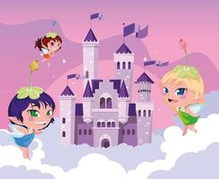 Fairies with castle fairytale in the sky with clouds