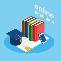 Online education with smartphone and books vector