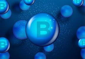 Vitamin B blue shining capsule design vector