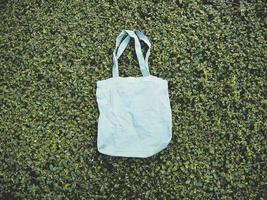 Blue linen tote bag