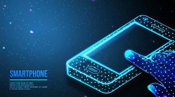 Abstract mobile phone with hand touching screen design  vector