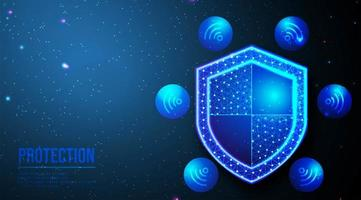 Shield and wifi abstract design  vector