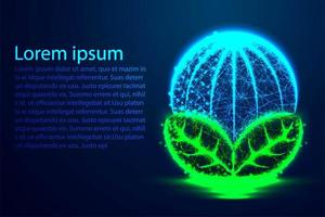 Earth globe glowing low poly design