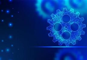 Abstract line and point blue gear background  vector