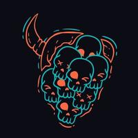Devil Face Made of Skulls T Shirt Design