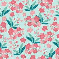 Orchid flower and leaves seamless pattern