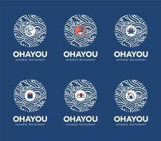 Conjunto de diseño de logotipo de restaurante y comida japonesa.
