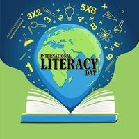 International literacy day poster with open book and globe