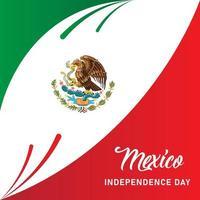 diseño del día de la independencia de méxico con bandera tricolor vector