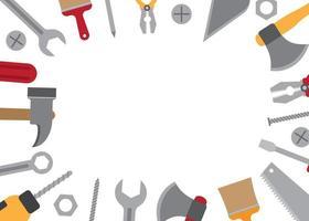 Construction work tools border frame vector