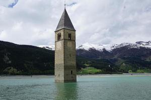 Church tower in Resia Lake
