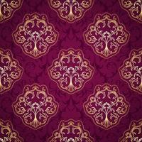 Seamless Purple and Gold Damask Pattern