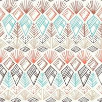 Seamless Diamond Ethnic Hand-drawn Pattern vector