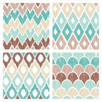 colección de patrones de garabatos azules y marrones vector