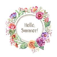 Watercolor Summer Flower Frame
