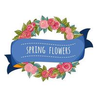 Wreath and Ribbon with Spring Flowers Text vector