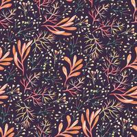 Seamless pattern with watercolor autumn flowers