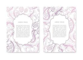Set of Ornamental Wedding Cards