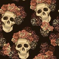 Seamless Skull with Flower Crown Pattern vector