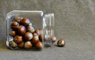 Jar of hazelnuts