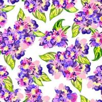 Abstract watercolor pattern with violet flowers