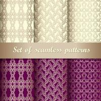 Set of purple and yellow seamless pattern vector