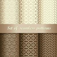 Set of gold and brown decorative seamless patterns vector