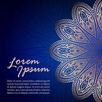 Card with Gold Mandala on Blue vector