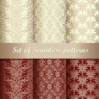 Set of gold and red vintage seamless patterns vector