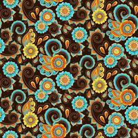 Brown, blue and orange paisely seamlesspattern