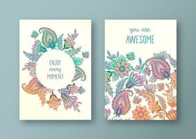 Set of Gradient Floral Greeting Cards vector
