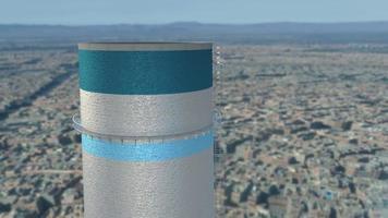 conceito de ecologia de poluição com balões de ar voando de torres