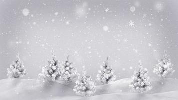 bucle de animación navideña de árboles cubiertos de nieve video