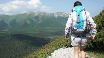 jovem caminhando nas montanhas, vista traseira video