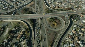 Aerial view of suburban traffic on a busy freeway video